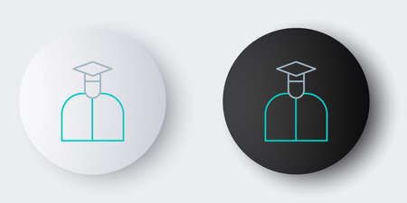 Line Student icon isolated on grey background. Colorful outline concept. Vector. Vettoriali