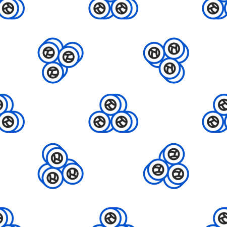 Line Sushi icon isolated seamless pattern on white background. Traditional Japanese food. Colorful outline concept. Vector