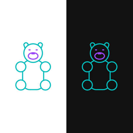 Line Jelly bear candy icon isolated on white and black background. Colorful outline concept. Vector.
