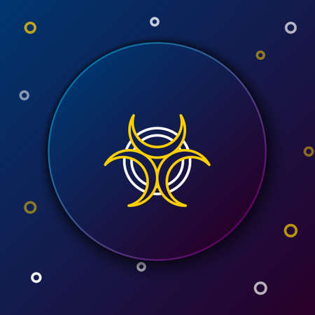 Line Biohazard symbol icon isolated on blue background. Colorful outline concept. Vector