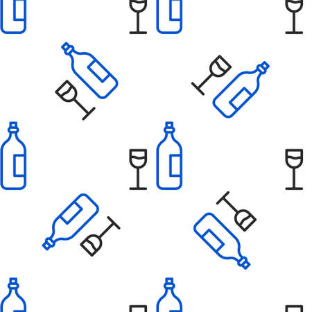 Line Wine bottle with wine glass icon isolated seamless pattern on white background. Happy Easter. Colorful outline concept. Vector