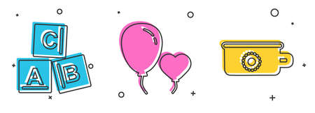 Set ABC blocks, Balloons in form of heart and Baby potty icon. Vector.