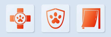 Set Animal health insurance, Veterinary clinic symbol and Door for pet. White square button. Vector