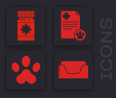 Set Pet bed, Dog medicine bottle and pills, Clipboard with medical clinical record pet and Paw print icon. Vector  イラスト・ベクター素材