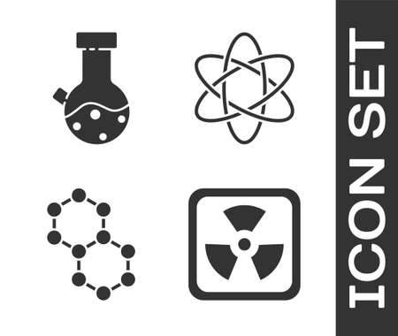 Set Radioactive, Test tube and flask chemical, Molecule and Atom icon. Vector