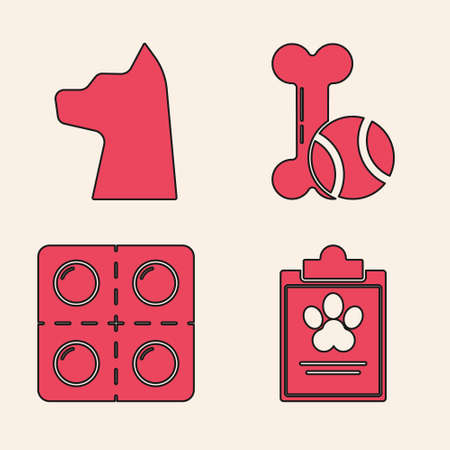 Set Clipboard with medical clinical record pet, Cat, Pet toys bone rubber and ball and Dog and pills icon. Vector