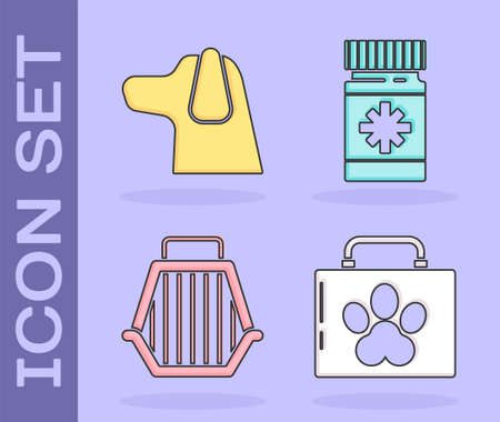 Set Pet first aid kit, Dog, Pet carry case and Dog medicine bottle and pills icon. Vector