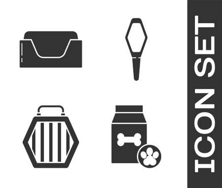 Set Bag of food for pet, Pet bed, Pet carry case and Pets vial medical icon. Vector