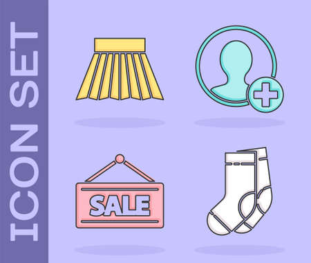 Set Socks, Skirt, Hanging sign with Sale and Create account screen icon. Vector