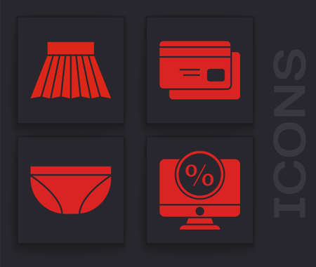 Set Percent discount and monitor, Skirt, Credit card and Underwear icon. Vector