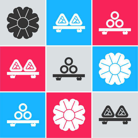 Set Flower, Sushi on cutting board and Sushi on cutting board icon. Vector