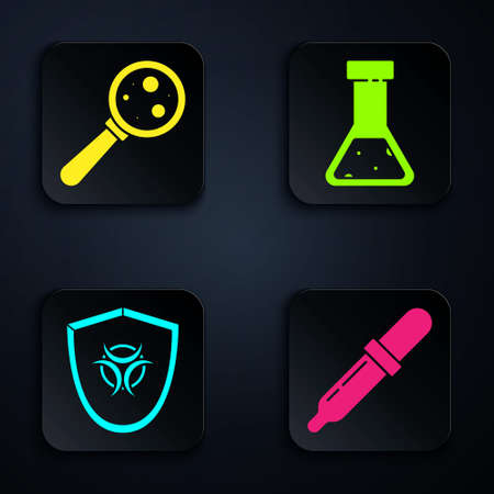 Set Pipette, Microorganisms under magnifier, Biohazard symbol on shield and Test tube and flask chemical. Black square button. Vector