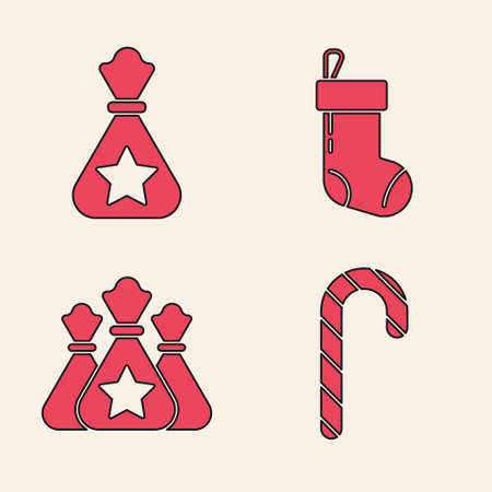 Set Christmas candy cane with stripes, Santa Claus bag gift, Christmas stocking and Santa Claus bag gift icon. Vector Çizim