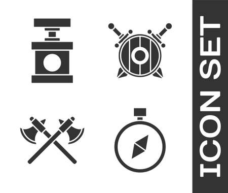 Set Compass, Handle detonator for dynamite, Crossed medieval axes and Wooden shield with crossed swords icon. Vector 일러스트