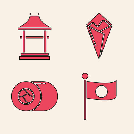 Set National flag of Japan on pole, Japan Gate, Temaki roll and Sushi icon. Vector. Ilustrace