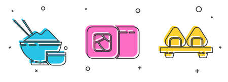 Set Rice in a bowl with chopstick, Sushi and Sushi on cutting board icon. Vector Ilustrace