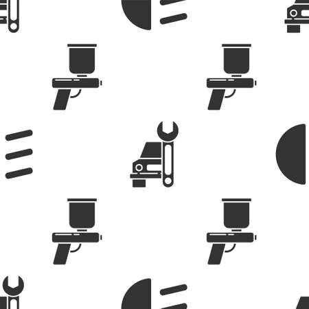 Set High beam, Car service and Paint spray gun on seamless pattern. Vector Illustration