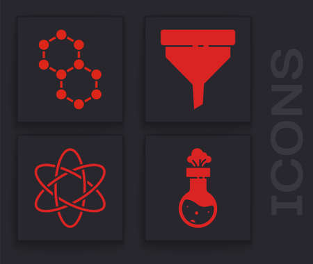 Set Test tube and flask chemical, Molecule, Funnel or filter and Atom icon. Vector. Illusztráció