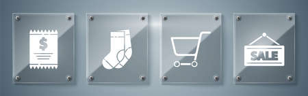 Set Hanging sign with Sale, Shopping cart, Socks and Paper check and financial check. Square glass panels. Vector