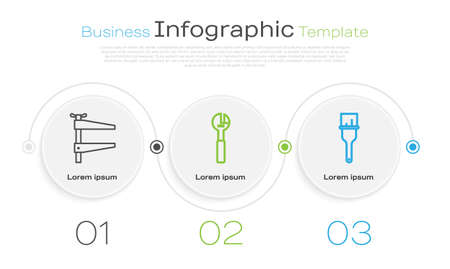 Set line Clamp tool, Adjustable wrench and Paint brush. Business infographic template. Vector