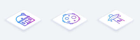 Set Isometric line Astronomical observatory, UFO abducts cow and Planet. White square button. Vector Stock Illustratie
