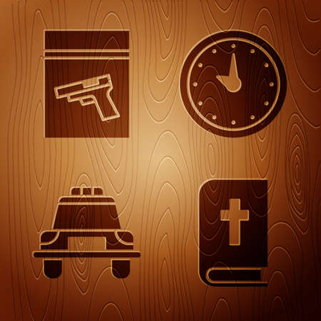 Set Holy bible book, Evidence bag and pistol or gun, Police car and flasher and Clock on wooden background. Vector