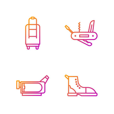 Set line Hiking boot, Cinema camera, Suitcase and Swiss army knife. Gradient color icons. Vector Illusztráció