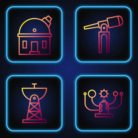 Set line Solar system, Satellite dish, Astronomical observatory and Telescope. Gradient color icons. Vector