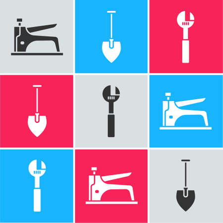 Set Construction stapler, Shovel and Adjustable wrench icon. Vector.