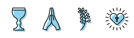 Set line Willow leaf, Wine glass, Hands in praying position and Christian cross and heart icon. Vector