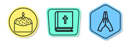 Set line Easter cake and candle, Holy bible book and Hands in praying position. Colored shapes. Vector