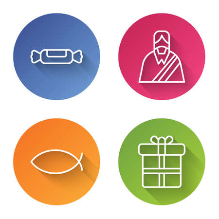 Set line Candy, Jesus Christ, Christian fish and Gift box. Color circle button. Vector