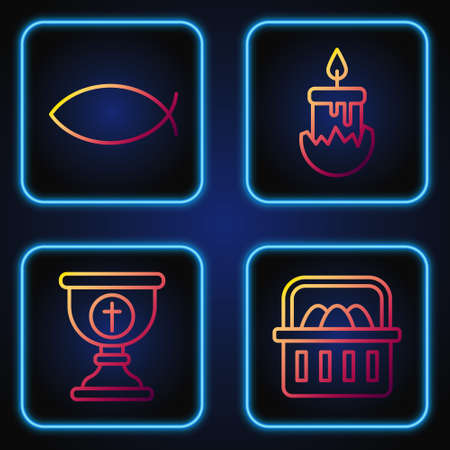 Set line Basket with easter eggs, Christian chalice, Christian fish and Burning candle. Gradient color icons. Vector.