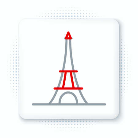 Line Eiffel tower icon isolated on white background. France Paris landmark symbol. Colorful outline concept. Vector.