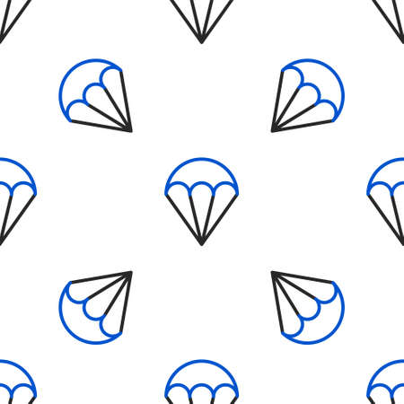 Line Parachute icon isolated seamless pattern on white background. Extreme sport. Sport equipment. Colorful outline concept. Vector.