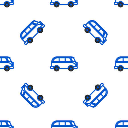 Line Retro minivan icon isolated seamless pattern on white background. Old retro classic traveling van. Colorful outline concept. Vector. Illustration