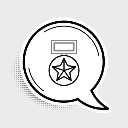 Line Military reward medal icon isolated on grey background. Army sign. Colorful outline concept. Vector. 일러스트
