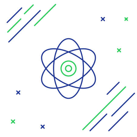 Line Atom icon isolated on white background. Symbol of science, education, nuclear physics, scientific research. Electrons and protons sign. Colorful outline concept. Vector.