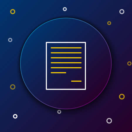 Line Document icon isolated on blue background. File icon. Checklist icon. Business concept. Colorful outline concept. Vector.