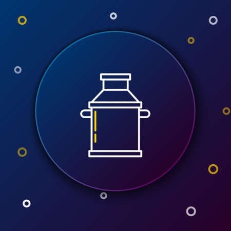 Line Can container for milk icon isolated on blue background. Colorful outline concept. Vector.
