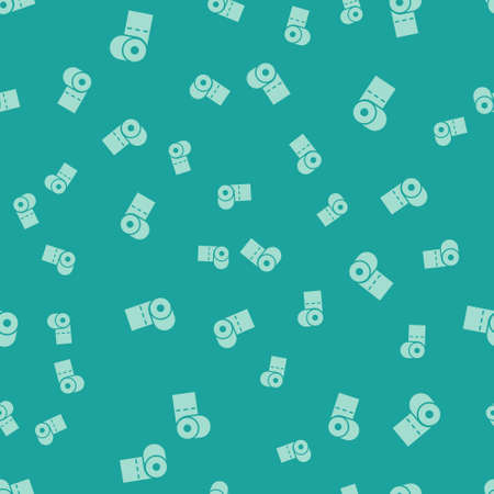 Green Toilet paper roll icon isolated seamless pattern on green background. Vector Illustration.