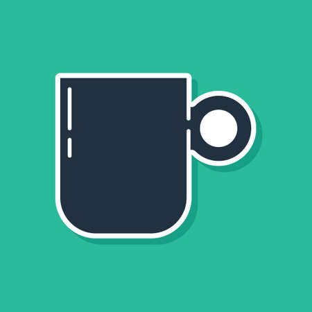 Blue Coffee cup icon isolated on green background. Tea cup. Hot drink coffee. Vector.