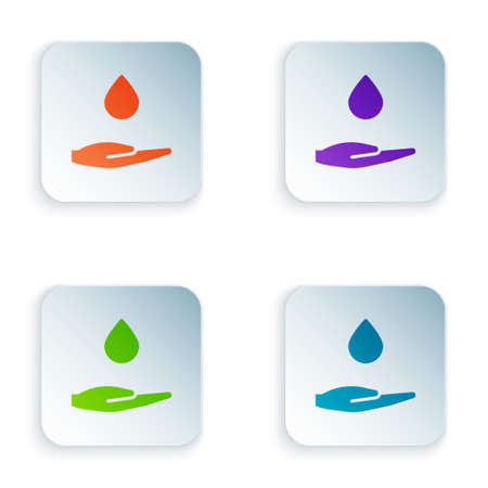 Color Washing hands with soap icon isolated on white background. Washing hands with soap to prevent virus and bacteria. Set colorful icons in square buttons. Vector Illustration.