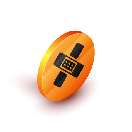 Isometric Crossed bandage plaster icon isolated on white background. Medical plaster, adhesive bandage, flexible fabric bandage. Orange circle button. Vector Illustration.
