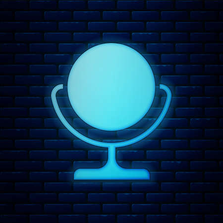 Glowing neon Round makeup mirror icon isolated on brick wall background. Vector Illustration. 版權商用圖片 - 150945180