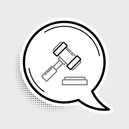 Line Judge gavel icon isolated on grey background. Gavel for adjudication of sentences and bills, court, justice. Auction hammer. Colorful outline concept. Vector. Ilustração