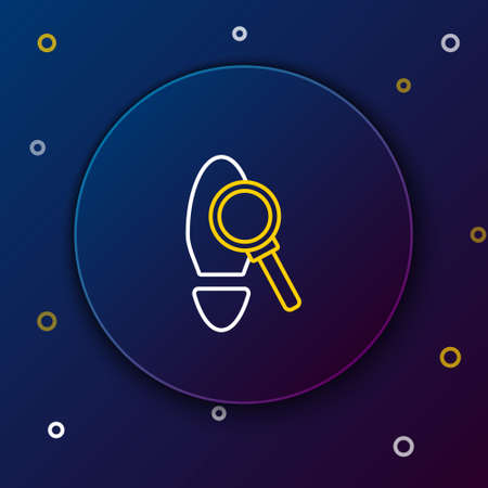 Line Magnifying glass with footsteps icon isolated on blue background. Detective is investigating. To follow in the footsteps. Colorful outline concept. Vector.