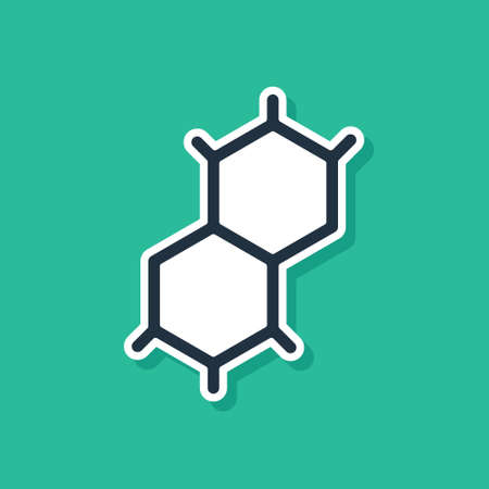 Blue Chemical formula icon isolated on green background. Abstract hexagon for innovation medicine, health, research and science. Vector.