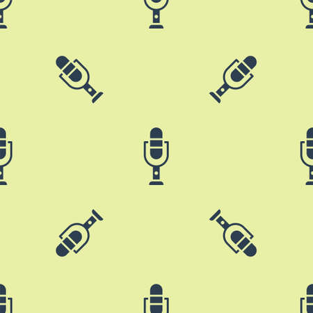 Blue Microphone icon isolated seamless pattern on yellow background. On air radio mic microphone. Speaker sign. Vector Illustration. Ilustração
