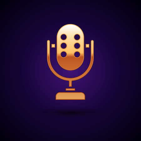 Gold Microphone icon isolated on black background. On air radio mic microphone. Speaker sign. Vector.